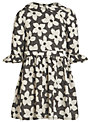 John Lewis Girl Flower Print Collared Dress, Black/Cream