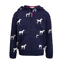 Buy John Lewis Girl Horse Print Zip-Through Hoodie, Blue Online at johnlewis.com