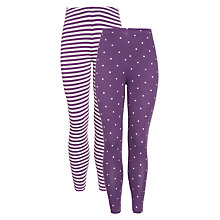 Buy John Lewis Girl Stripe & Polka Dot Leggings, Pack of 2, Aubergine Online at johnlewis.com