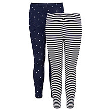 Buy John Lewis Girl Stripe & Polka Dot Leggings, Pack of 2, Blue Online at johnlewis.com