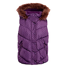 Buy John Lewis Girl Polka Dot Quilted Gilet, Hyacinth Online at johnlewis.com