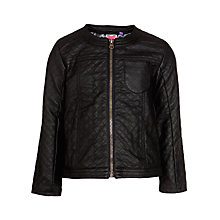 Buy John Lewis Girl Quilted Faux Leather Jacket, Black Online at johnlewis.com