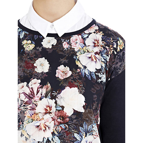 Buy Warehouse Floral Woven Jumper, Navy Online at johnlewis.com