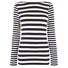 Buy Oasis Stripe PU Trim Top, Multi Blue Online at johnlewis.com