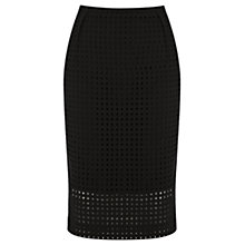 Buy Oasis Broderie Square Pencil Skirt, Black Online at johnlewis.com