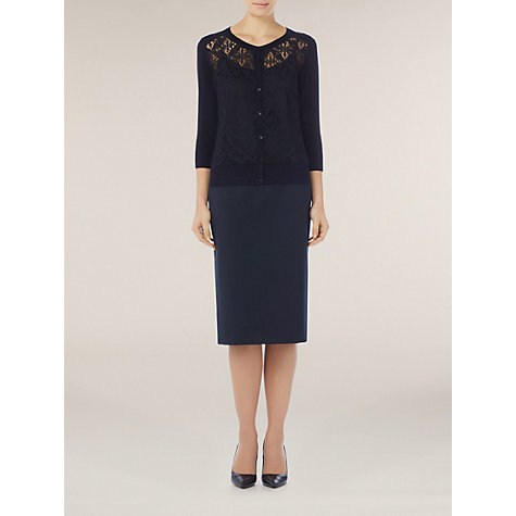 Buy Planet Lace Front Cardigan, Blue Online at johnlewis.com