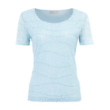 Buy Planet Textured Short Sleeve Top, Blue Online at johnlewis.com