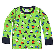 Buy Polarn O. Pyret Boys' Repeat Character Print T-Shirt, Apple Green Online at johnlewis.com