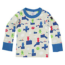 Buy Polarn O. Pyret Baby All-Over Game Print Top, Blue/Multi Online at johnlewis.com
