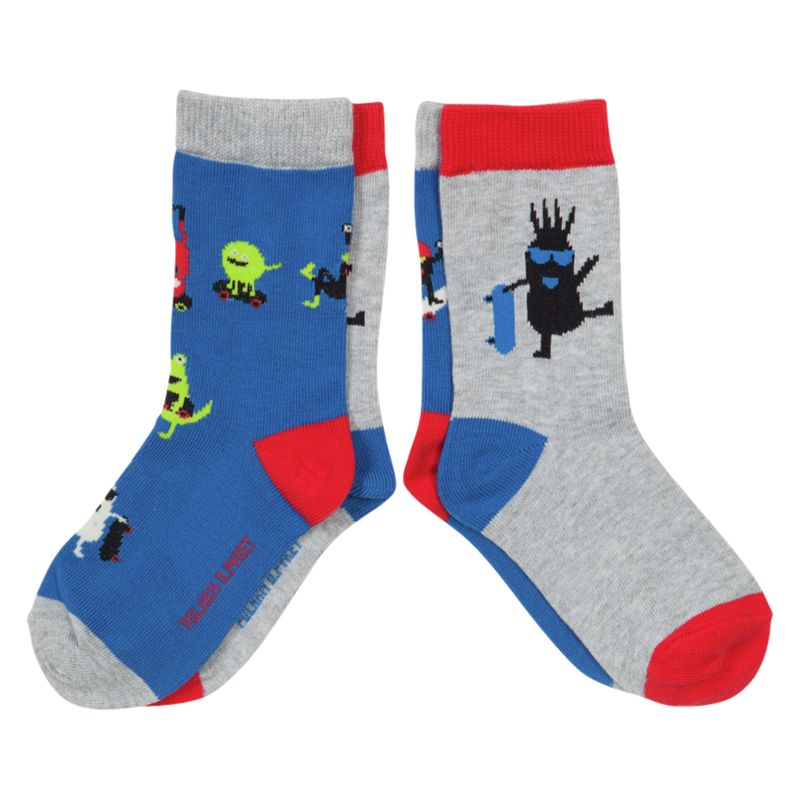 Polarn O. Pyret Girls' Character Socks, Pack of 2, Blue/Multi