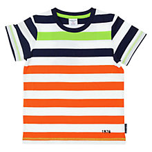 Buy Polarn O. Pyret Boys' Stripe T-Shirt, Orange/Navy Online at johnlewis.com