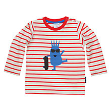 Buy Polarn O. Pyret Baby Stripe Character Print T-Shirt, Red/Cream Online at johnlewis.com