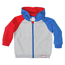 Buy Polarn O. Pyret Baby Colour Block Hoodie, Grey/Multi Online at johnlewis.com