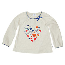 Buy Polarn O. Pyret Girls' Heart Print Long Sleeve T-Shirt, Birch Online at johnlewis.com