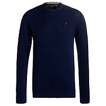 Buy Hackett London Cotton Crew Neck Jumper, Navy Online at johnlewis.com