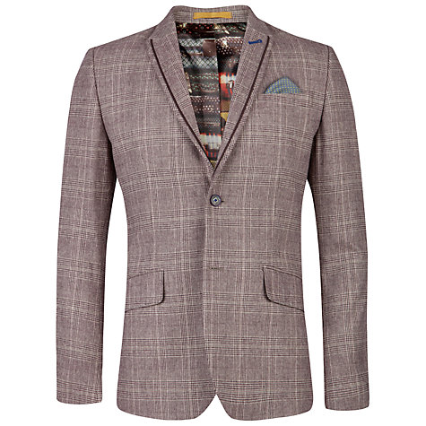 Buy Ted Baker Arwan Check Cotton Blazer, Purple Online at johnlewis.com