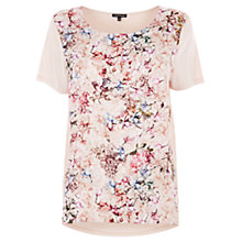Buy Warehouse Jacquard Floral Print T-Shirt, Cream Online at johnlewis.com