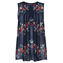Buy Warehouse Floral Pleat Blouse, Navy Online at johnlewis.com