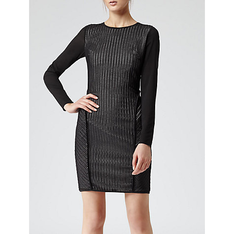 Buy Reiss Textured Bodycon Dress, Black/Cream Online at johnlewis.com