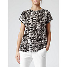 Buy Reiss Ellie Snake Print Slit Back Top, Black/White Online at johnlewis.com