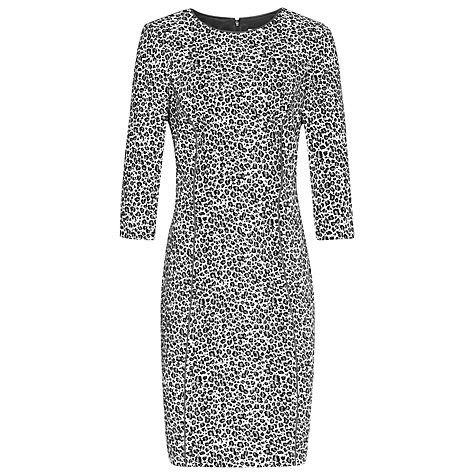 Buy Reiss Jacquard Dress, Black/Cream Check Online at johnlewis.com
