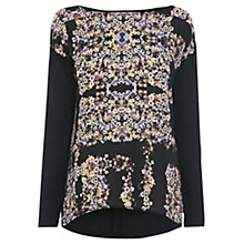 Buy Warehouse Placement  Ditsy  Woven Front Tunic, Black / Multi Online at johnlewis.com