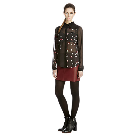 Buy Warehouse Floral Mix Print Shirt, Black Online at johnlewis.com