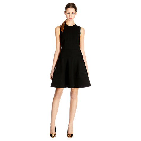 Buy Warehouse Ponte Flippy Dress, Black Online at johnlewis.com