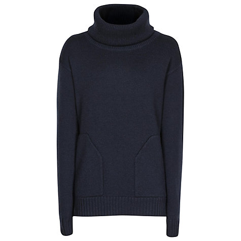 Buy Reiss Chunky Knit Roll Neck Jumper, Navy Online at johnlewis.com