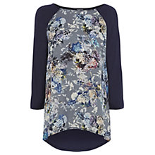 Buy Warehouse Shadow Floral Print Long Sleeve Top, Navy Online at johnlewis.com