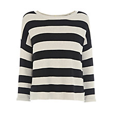 Buy Warehouse Popper Back Stitch Stripe Jumper Online at johnlewis.com