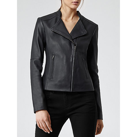 Buy Reiss Soft Leather Biker Jacket, Blue/Black Online at johnlewis.com
