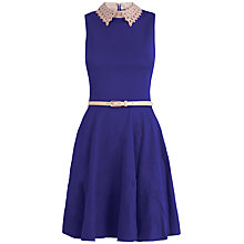 Buy Almari Laser Cut Collar Dress, Navy Online at johnlewis.com