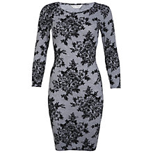 Buy Miss Selfridge Floral Bodycon Dress, Mid Grey Online at johnlewis.com
