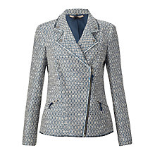 Buy Jigsaw Sacha Textured Biker Jacket, Blue Online at johnlewis.com