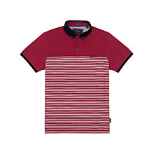 Buy Ted Baker Sunnset Striped Polo Top, Pink Online at johnlewis.com