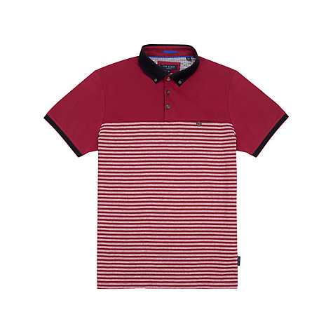 Buy Ted Baker Sunnset Striped Polo Shirt, Pink Online at johnlewis.com