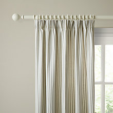 Buy John Lewis Ticking Stripe Lined Pencil Pleat Curtains, Pearl Grey Online at johnlewis.com