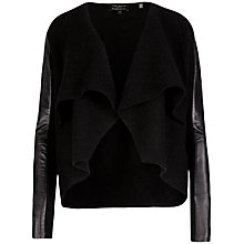 Buy Ted Baker Gaeton Leather Trim Jacket, Black Online at johnlewis.com