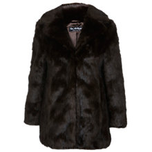 Buy Miss Selfridge Faux Fur Coat, Dark Brown Online at johnlewis.com