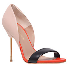 Buy Kurt Geiger Bank Leather Stiletto Sandals, Nude/Black/Orange Online at johnlewis.com