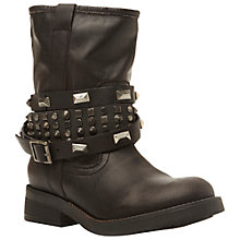 Buy Steve Madden Mightee Leather Biker Boot, Black Online at johnlewis.com