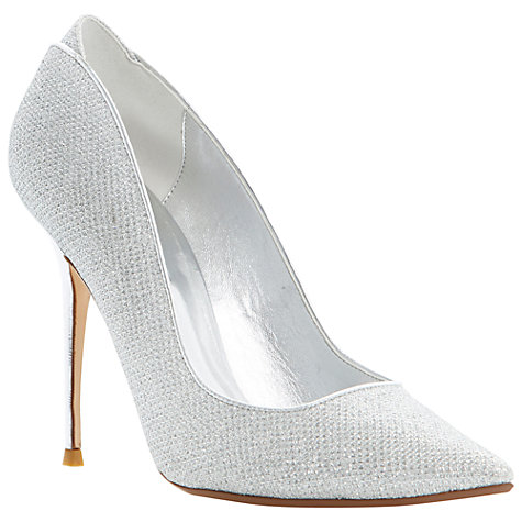 Buy Dune Ballroom Glitter Fabric Stiletto Court Shoes, Silver Online at johnlewis.com