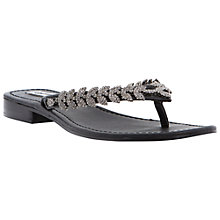 Buy Dune Kindy Leather Flat Sandals, Black Online at johnlewis.com