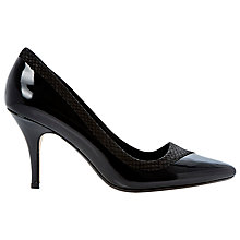 Buy Dune Alivia Reptile Trim Court Shoes, Reptile Black Online at johnlewis.com