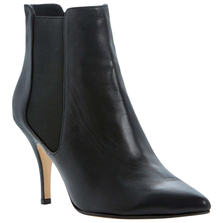Dune Nightlife Leather Stiletto Chelsea Boots, Black