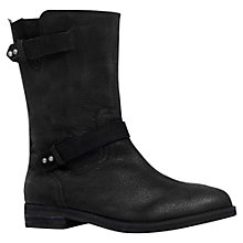Buy Carvela Tanya Leather Double Strap Calf Boots, Black Online at johnlewis.com