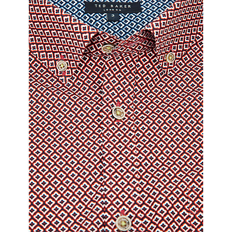 Buy Ted Baker Jensen Tile Print Shirt, Red Online at johnlewis.com