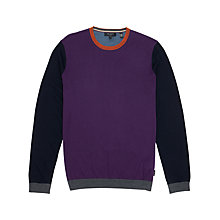 Buy Ted Baker Merino Wool Colour Block Jumper, Purple Online at johnlewis.com