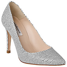 Buy L.K. Bennett Fae Leather Court Shoes Black / White Online at johnlewis.com